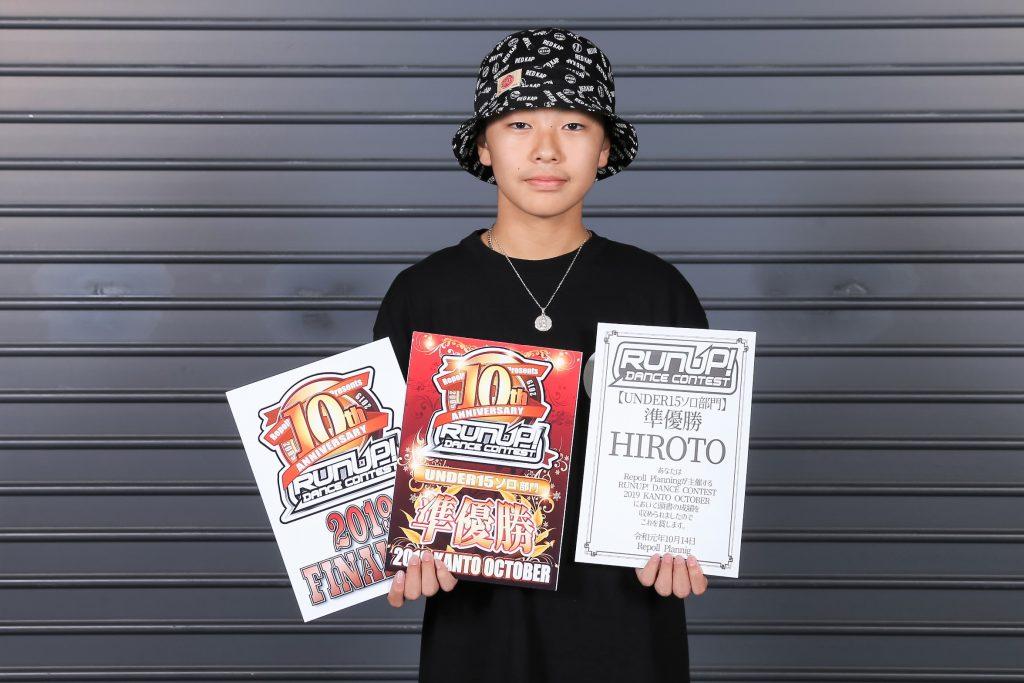 ラナップRUNUP20191014UNDER15ソロ準優勝HIROTO
